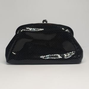 Olga Berg black clasp open clutch with chain strap